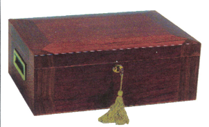 Cigar Humidors: domed mahogany humidor W/ beveled top