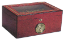 Cigar Humidor: beveled glass top bubinga W/ inlay design humidor